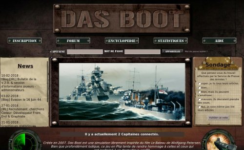 Capture d'écran du jeu web Das Boot