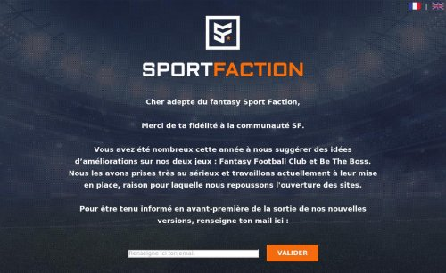 Capture d'écran du jeu web Sport Faction