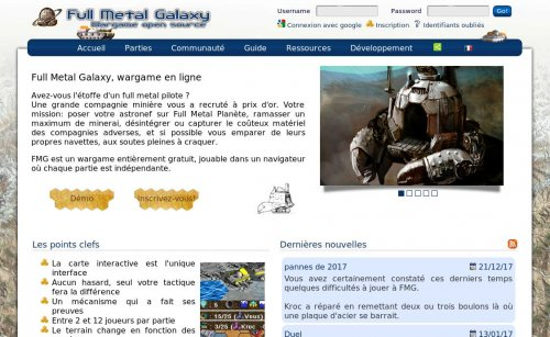 Capture d'écran du jeu web Full Metal Galaxy