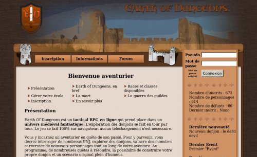 Capture d'écran du jeu web Earth of Dungeons