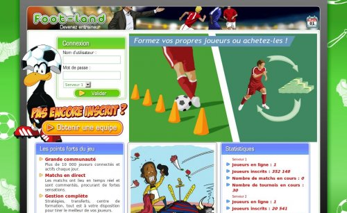 Capture d'écran du jeu web Foot-Land
